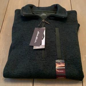 Eddie Bauer Mens Sweater Fleece Quarter Zip Green
